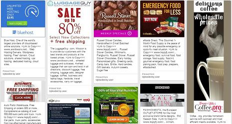 Shopping, BlueHost, AthleticGreens, AutoPartsWharehouse, PerfumeEmporium, RusselStover, YowzaFitness, Coffee.org, eFoodsDirect, LuggageGuy, SehraFondueFountain, SpamFighter, Fashionesta, All-Battery.com, PandaAntivirus2016, 1800FreshStart.com, Hotels.com, Deals, Direct, Discount, Outlet, Store, Retail